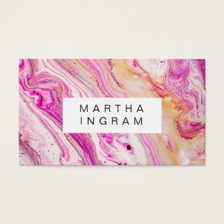Art Design Abstract Bright Fresh Pink Gold White Business Card