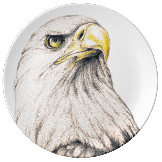 Art Drawing Of  Eagle Plate