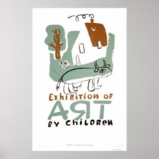 Art Exhibition Children 1936 WPA Poster