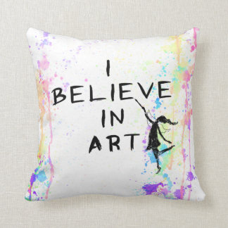 Art Fairy: I Believe In Art Watercolor Run Cushion