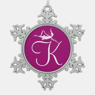 Art Fairy Initial: K Snowflake Pewter Christmas Ornament
