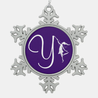Art Fairy Initial: Y Pewter Snowflake Decoration
