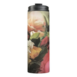 art floral vintage vibrant background with red thermal tumbler