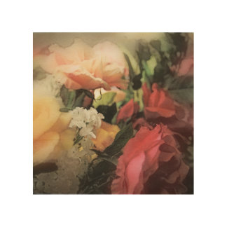 art floral vintage vibrant background with red wood prints