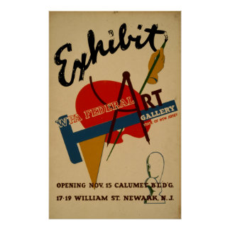 Art Gallery Exhibition New Jersey Vintage WPA Poster