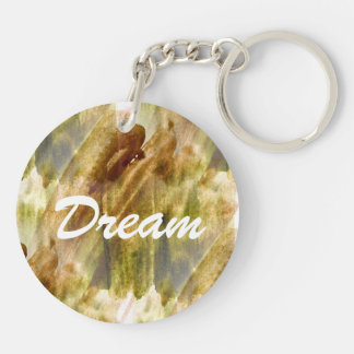 art green, brown hand paint background seamless Double-Sided round acrylic key ring