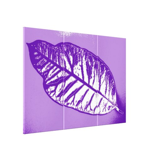 Art Leaf Purple  Autumn Gallery Wrapped Canvas