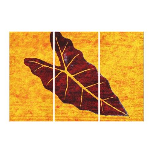 Art Leaf Yellow  Autumn 3 Gallery Wrap Canvas