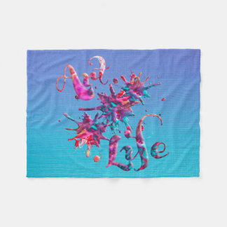 Art Life Colourful Paint Splatter Whimsical Artsy Fleece Blanket