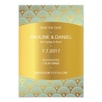 Art Niveous  Save The Date Golden Shells Vip 9 Cm X 13 Cm Invitation Card
