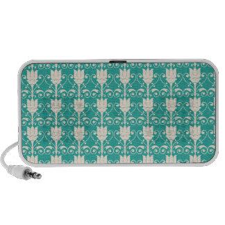Art Nouveau Abstract Floral - Aqua iPod Speaker