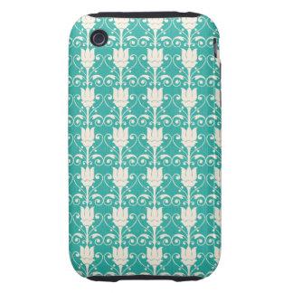 Art Nouveau Abstract Floral - Aqua Tough iPhone 3 Covers