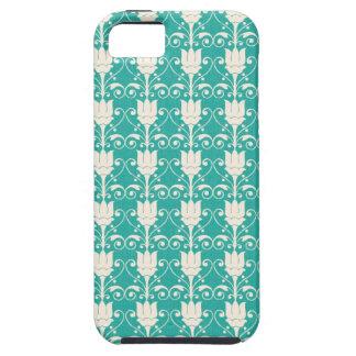 Art Nouveau Abstract Floral - Aqua Tough iPhone 5 Case