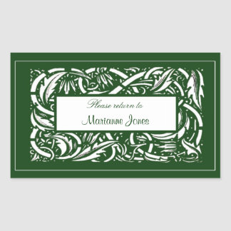 Art Nouveau Acanthus Nameplate Sticker