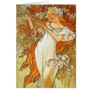 Art Nouveau Alphonse Mucha Spring Greeting Card