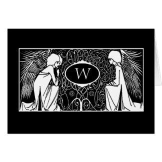 Art Nouveau Angels Monogram Note Cards