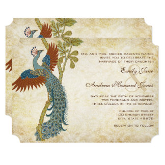 Art Nouveau Art Deco Peacock Birds Wedding Card