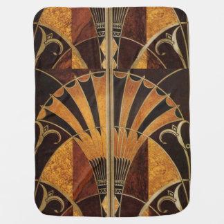 art Nouveau,art deco, vintage, multi wood colours, Baby Blanket