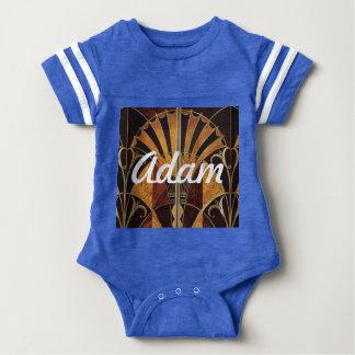 art Nouveau,art deco, vintage, multi wood colours, Baby Bodysuit