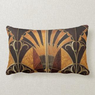 art Nouveau,art deco, vintage, multi wood colours, Lumbar Cushion