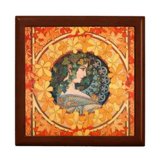 Art Nouveau Autumn Leaf Design  Square Gift Box