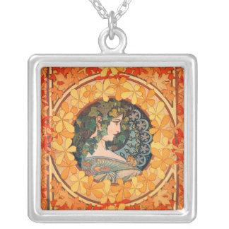 Art Nouveau Autumnal Design Square Necklace
