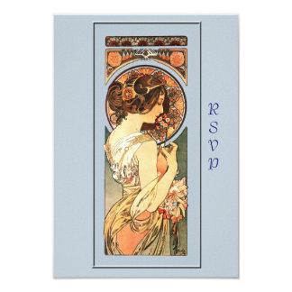 "Art Nouveau Beautiful Bride Wedding RSVP Card 3.5"" X 5"" Invitation Card"