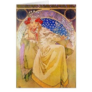Art Nouveau Beautiful Woman #2 by Alphonse Mucha Card