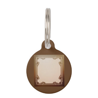 art nouveau, beige,brown,antique,belle époque, ele pet ID tag