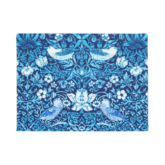 Art Nouveau Bird and Flower Tapestry, Dark Blue Doormat