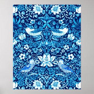Art Nouveau Bird and Flower Tapestry, Dark Blue Poster