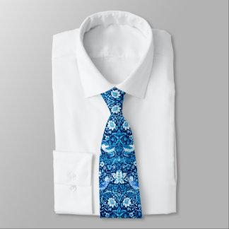 Art Nouveau Bird and Flower Tapestry, Dark Blue Tie