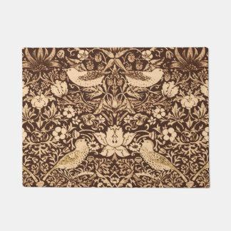Art Nouveau Bird and Flower Tapestry, Dark Brown Doormat