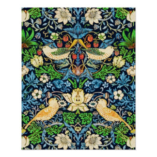 Art Nouveau Bird and Flower Tapestry Pattern Poster