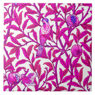 Art Nouveau Bird and Pomegranate, Fuchsia Pink Large Square Tile