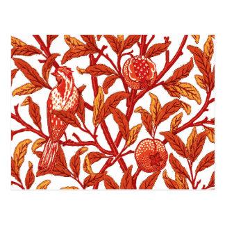 Art Nouveau Bird and Pomegranate, Mandarin Orange Postcard