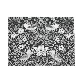 Art Nouveau Bird & Flower Tapestry, Black & White Doormat