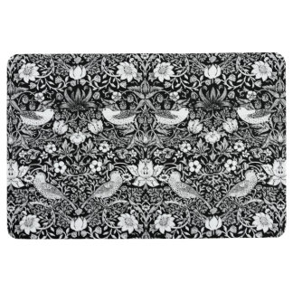 Art Nouveau Bird & Flower Tapestry, Black & White Floor Mat
