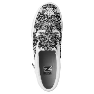 Art Nouveau Bird & Flower Tapestry, Black & White Slip On Shoes