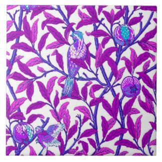 Art Nouveau Bird & Pomegranate, Amethyst  Purple Large Square Tile
