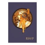 Art Nouveau Bride Wedding RSVP Card 9 Cm X 13 Cm Invitation Card