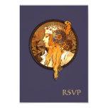 Art Nouveau Bride Wedding RSVP Card 9 Cm X 13 Cm Invitation Card