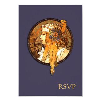 "Art Nouveau Bride Wedding RSVP Card 3.5"" X 5"" Invitation Card"