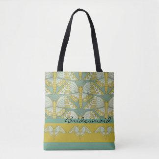 Art Nouveau Butterfly Design Bridesmaid Gift Tote Bag