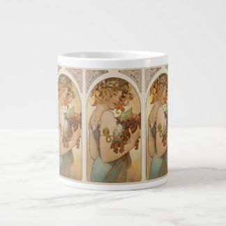 "Art Nouveau by Alphonse Mucha-c 1897 ""Fruit"" 20 Oz Large Ceramic Coffee Mug"