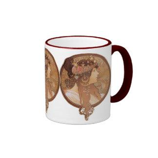 Art Nouveau - Byzantine Head, The Brunette Ringer Coffee Mug