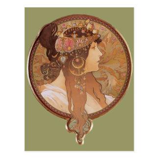 Art Nouveau - Byzantine Head, The Brunette Postcard