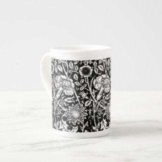 Art Nouveau Carnation Damask, Black and White Tea Cup