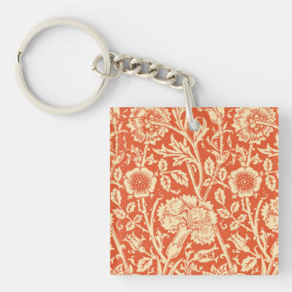 Art Nouveau Carnation Damask, Mandarin Orange Double-Sided Square Acrylic Key Ring