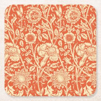 Art Nouveau Carnation Damask, Mandarin Orange Square Paper Coaster